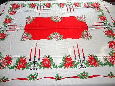 "VINTAGE CHRISTMAS TABLECLOTH MID-CENTURY RED POINSETTIA LOVELY BORDER 75"" x 56"""