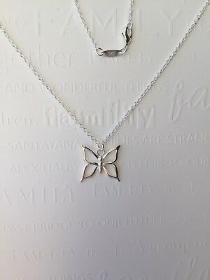Sterling Silver 925 Chain Necklace with Silver Butterfly Charm Pendant