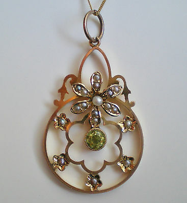 Antique Edwardian 9ct Gold Peridot & Seed Pearl Pendant Necklace c1905