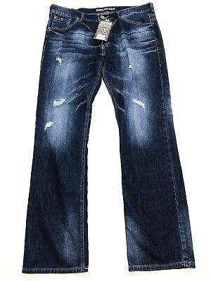 Mens 34 38 AFFLICTION ACE Ascended Norwalk GREY JEANS Metallic SILVER Gold FADED