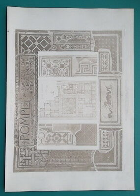 POMPEII House of Centenary Plan Mosaics Paintings -  SUPERB 1905 Espouy Print