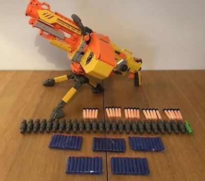 Nerf Havok Fire Vulcan Ebf-25 Machine Gun Bullet Belt Box 75 Darts Bundle Tripod