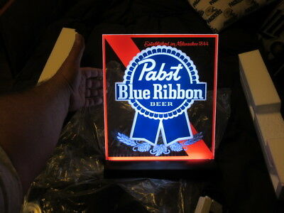 Pabst Blue Ribbon Beer Sign Led Neo Neon Pbr Back Bar Light Up Tavern Pub