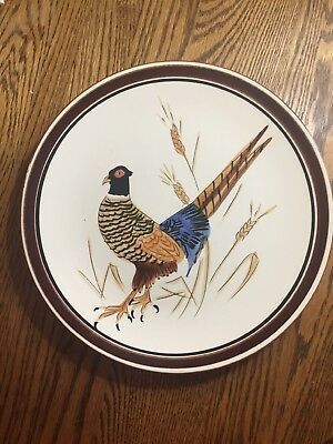 Vintage STANGL Pottery Plate Charger 3774 pheasant Trenton NJ bird 11 1/2 inches