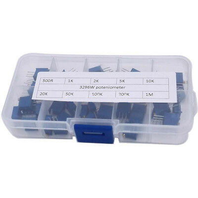 Potentiometer resistance 10 values Multi-turn Trimmer 50pcs 3296W set Reliable