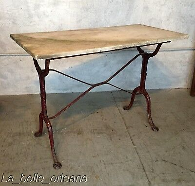 French Bistro / Garden Cast Iron & Marble Architectural Table .