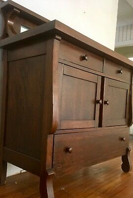 Vintage Mission, Arts Crafts Oak Cabinet Console