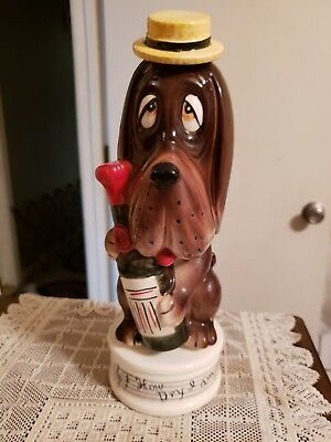 "Vintage ""How Dry I Am "" Musical Base Decanter ~ Bassett Hound Holding A Bottle"