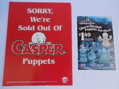 "Pizza Hut Casper the Ghost Puppet Menu Insert & Casper "" Sold Out""  Sign Unused"