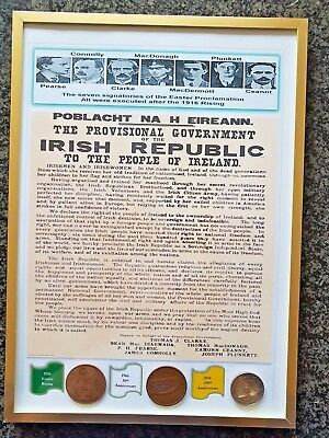 Framed Easter Rising Proclamation with coins from 1916,1966,2016