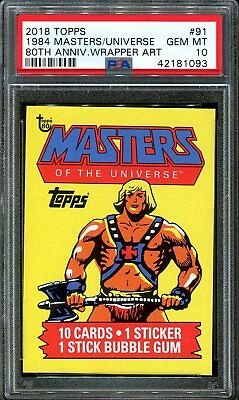 2018 Topps 80th Anniversary Wrapper Art 91 1984 Masters Universe SSP /224 PSA 10
