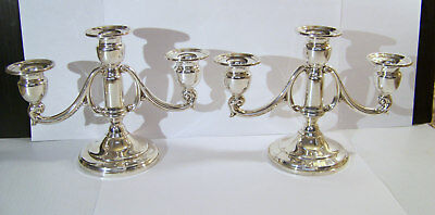 Mueck-Carey Sterling Three Light Candle Holder Pair Weighted Candelabra # 358