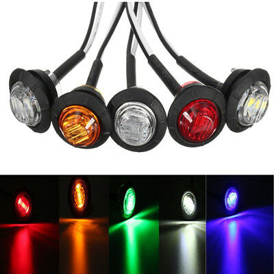 5Pcs Car Side Marker Waterproof Rear Bus Round ABS 3LED Truck Signal Lamp