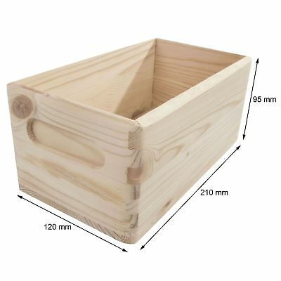 Wooden Non-Lidded Box 21x12x9cm / Crate Storage to Decorate Craft Decoupage DIY