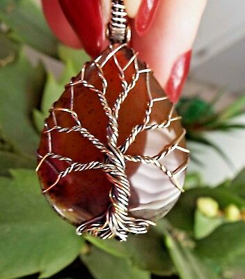 * MONTANA AGATE WIRE-WRAPPED TREE OF LIFE PENDANT * .925 Sterling Silver