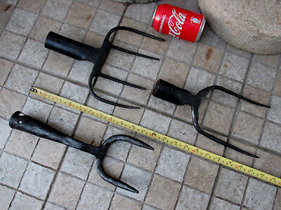 True Antique Farm Museum Iron Wrought Blacksmith Made Lot 3 Forks Fork Tool