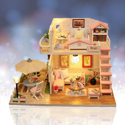 Miniature Doll House Pink Wooden Dollhouse w/LED Lights Furniture DIY Kit