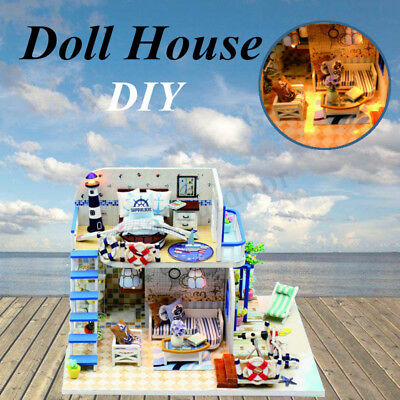 DIY Wooden Cottage Dollhouse Miniature Dolls House W/Furniture LED Light