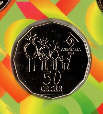 1994 Aus.: Year Of The Family 50 Cent Coin From Mint Set 🌟coin Market🌟 $1 Post