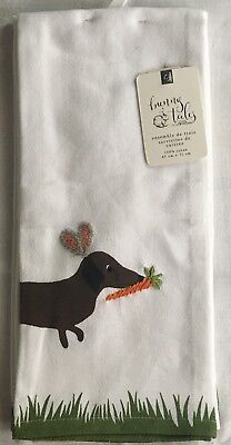 Dachshund Wiener Dog Easter Embroidered Kitchen Towels NEW Bunny Ear Doxies