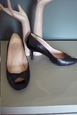 d8e6c790b604 Amalfi Exclusively For Nordstrom Black Leather Open Toe Women s Shoes Sz ...