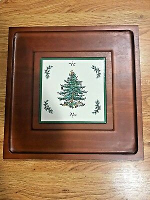 "Spode Christmas Tree Wood Frame 12"" Tea Tray Trivet Serving"