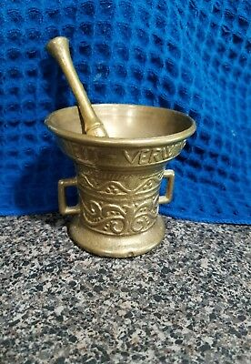 Vintage Solid Brass Mortar And Pestle! Great condition.