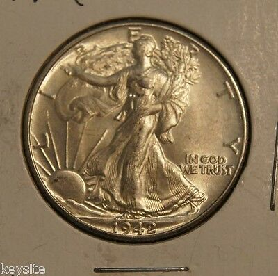1942 Walking Liberty Half Dollar-Choice  Brilliantly Uncirculated (Inv A)