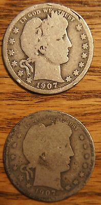 1907 P & D Barber Quarters-Good To About Good