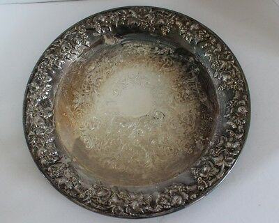 """Vintage Silver Plate Round Serving Plate Dish 13"""" Floral Etched"""