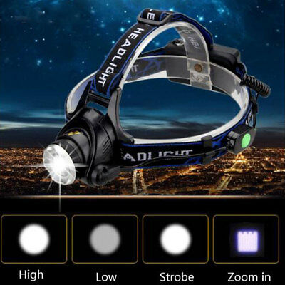 Zoom 20000LM Headlight Torch T6 LED Headlamp Head Light Lamp + Charger + Battery