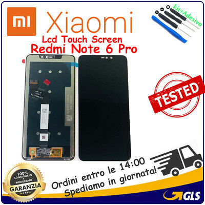 VETRO+ TOUCH SCREEN LCD DISPLAY SCHERMO MONITOR Per XIAOMI REDMI NOTE 6 PRO NERO