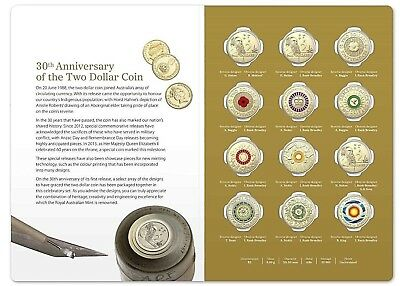 2018  $2  30th Anniversary of the $2 Coin . 12 Coin Coloured Set