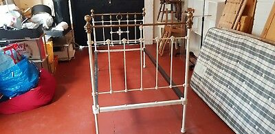 Original Victorian Brass And Iron Single Bed Antique White