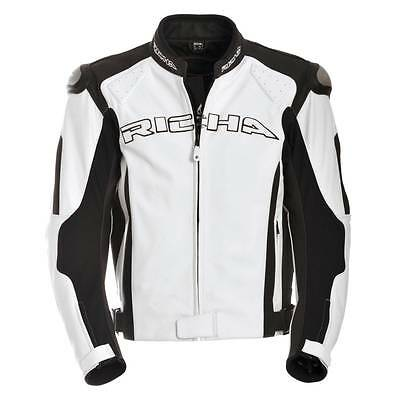 Richa Ghost Motorcycle Motorbike Sports Racing Leather Jacket Black / White NEW
