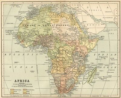 Africa Continent Map: Authentic 1891 Keyed to European Possession