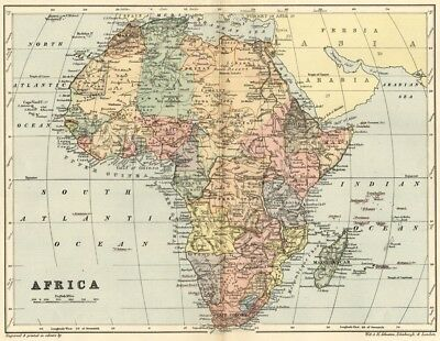 Africa Map: Authentic 1895; Much Enexplored , Many Forgotten Possessions