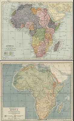 TWO Africa Maps: Authentic 1907 (Dated) Colonies Key; Political / Physical; RRs