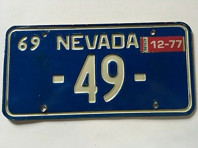 1969 1977 Nevada Blue License Plate Low Number 2 Digit #49 All Original
