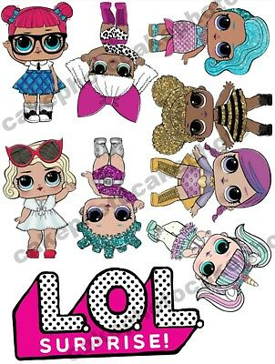 Lol Dolls And Logo A4/A5 Edible Cake Topper Sheet / Pre-Cut Icing / Uncut Wafer