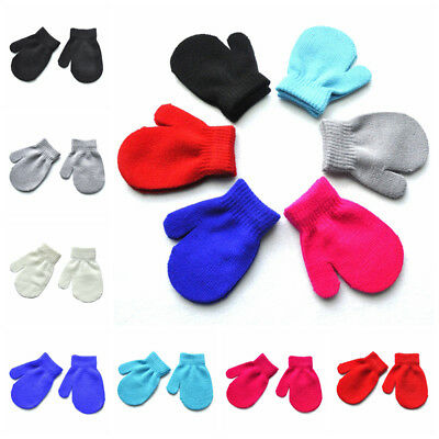 Kids Baby Outdoor Winter Warm Gloves Toddler Child Stretchy Knitted Mittens NEW