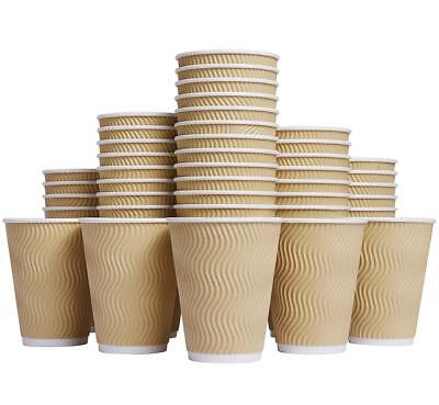 Luckypack Hot Paper Cups_12 oz Disposable Insulated Corrugated Sleeve Ripple