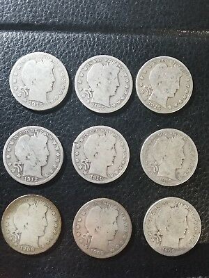 Lot (9) Silver Barber Half Dollars Var Dates 1908 1909-S 1910-S 1912-S 1915-S