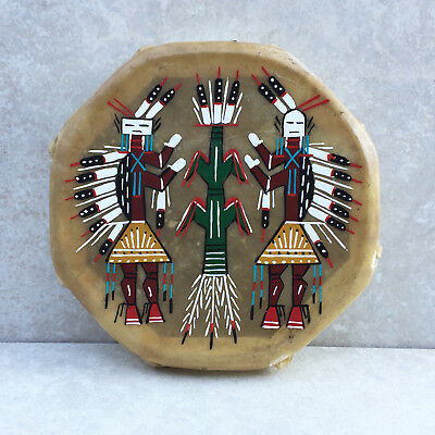 Native American Rawhide Indian Drum-Navajo Hand Painted Cochiti Drum-Yei Design