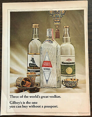 ORIGINAL 1966 Gilbey's Gin PRINT AD Comparison to Russian Vodka