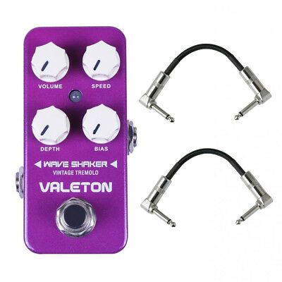Valeton CTR-1 Wave Shaker - Vintage Tremolo Guitar Pedal with 2 patch cables