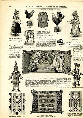 French MODE ILLUSTREE SEWING PATTERN November 12,1893 Special dolls