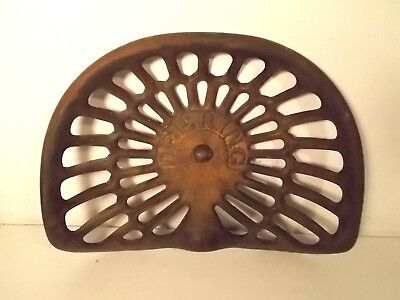 Antique Cast Iron DEERING Farm Implement / Tractor Seat ~ Vintage Advertising