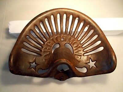 Antique The Warrior Mower Cast Iron Tractor Implement Seat  Nice Stars