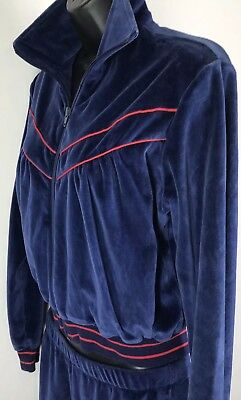 West-1 Womens Juniors Blue Velour Track Sweat Suit Jacket Pants Size M Vintage